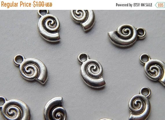 CLOSING SALE 10 Pieces of Metal Jewelry Charms - 12mm Nautilus Shell, Beach, Sea Life, Drop, Double Sided, Bright & Antique Silver Color, Ba
