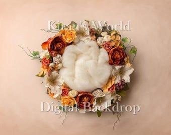 Newborn Digital Backdrop,Flower Nest Wreath Digital Backdrop,Newborn Overlay,Floral Newborn Nest,Autumn Fall,Texture Backdrop,2 Backgrounds