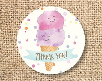Ice Cream Birthday Favor Tags Printable Girls Ice Cream Baby Shower Pink Purple Twins Thank You Tag Pool Party Summer INSTANT DOWNLOAD