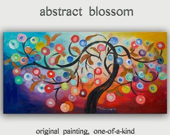 sale Abstract cherry painting Large Wall art Multi color Oil painting Fancy Blossom home decor wall hanging, canvas art deco by Tim Lam