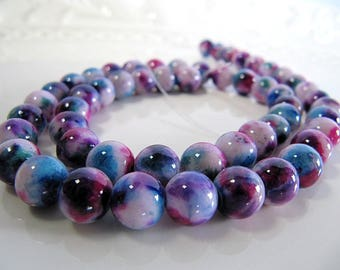 8mm JADE Beads in Sky Blue, Violet, Purple and Cream, Dyed, Round, 1 Strand 16 Inches, Approx 52 Beads