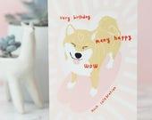 Doge Card Meme Birthday Card, Funny Dog, Shibe Birthday Card, Shiba Inu, Cute Greetings Card, so wow, doggo, happy pup