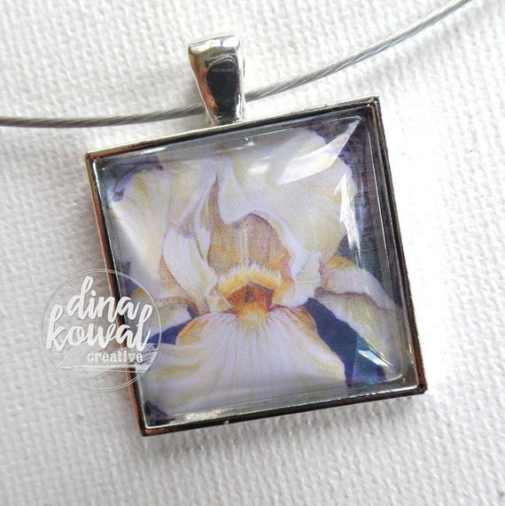 Iris - white - domed glass tile pendant necklace