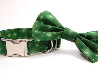 Handmade Dog Collar and Bow Tie Set - Holiday Shine in Green - Custom Made Holiday Dog Collar with matching bowtie in Gold Green and Silver