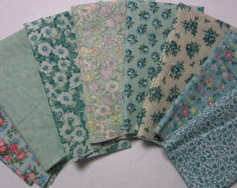 8 Assorted Lighter Green Calico Fabric Scraps, Fat Sixteenths Calico Cotton Fabric Remnants, Quilting, Sewing Set 2