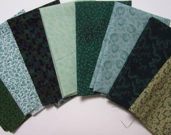 8 Assorted Greens Cotton Fabric Scraps, Fat Sixteenths, Calico Stash Builder, Destash, Quilting, Sewing