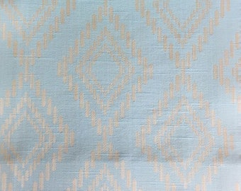 Custom Curtains Valance Roman Shade Shower Curtains in Light Aqua Diamond Pattern Fabric