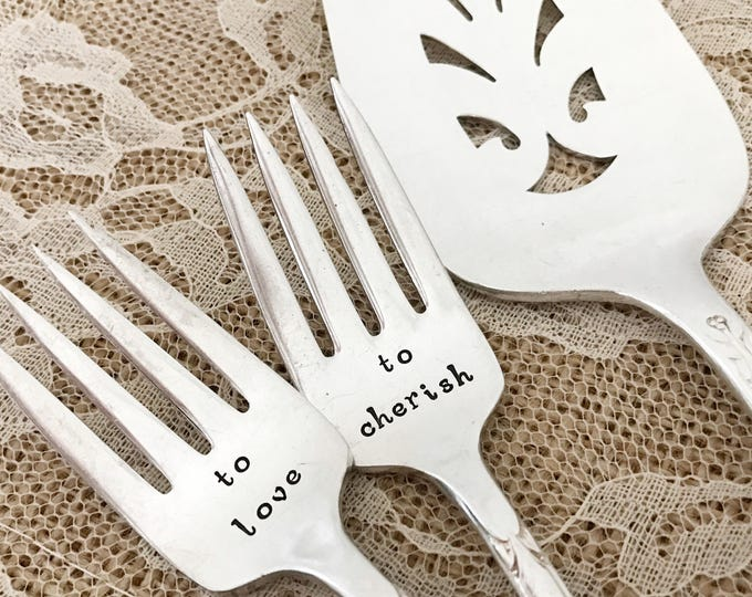 """To love and to cherish vintage forks and cake server set wedding  """"talisman/avalon"""", new hand stamped"""