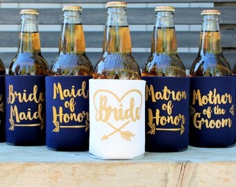 Bride Tribe Can Coolers, Bachelorette Party, Bridesmaid, Maid of Honor, Bridesmaid Proposal gift, ask Bridesmaid, Favors, Navy and Gold