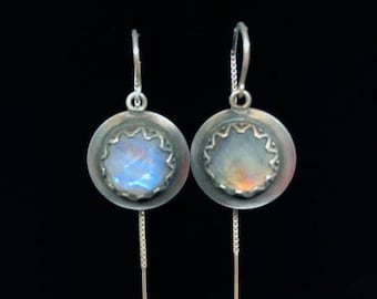 Rainbow Moonstone Rosecut in Sterling Silver setting hung on Threader Earwires