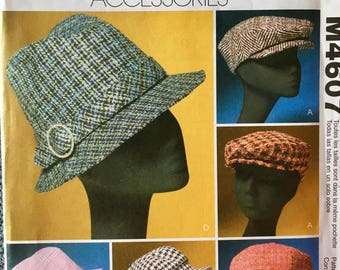 Hipster Hat Pattern Pageboy Greek Fisherman McCalls 4607 UNCUT