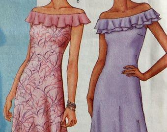 Bias Cut A Line Dress Sewing Pattern Butterick 3074 Off Shoulder Asymmetrical Hem Size 8 to 12 UNCUT