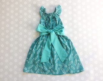 Teal Feather Dress - Baby Girl Dress - Girls Dresses - Sleeveless Dress - Summer Dress - Spring Dresses - Teal Dress - Handmade - Feathers