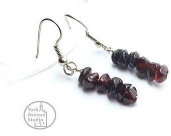 Dark Red Natural Garnet Gem Linear Earrings Surgical Steel