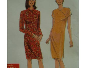 Asian Dress Pattern, Cheongsam, Mandarin Collar, Diagonal Shoulder Buttons, Side Slits, Simplicity No. 7791 UNCUT Size 10 12 14 16 18 20