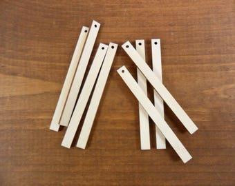 """Wood Rectangle Earrings Bars 3"""" (7cm) x 1/4"""" (1.9cm) x 1/8"""" (.3cm) Unfinished Blank Wood Shapes Laser Cut - 1 Hole - 25 Pieces"""