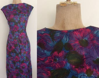1960's Floral Print Acetate Shift Dress Jewel Tone Plus Size Wiggle Dress Size XL XXL by Maeberry Vintage