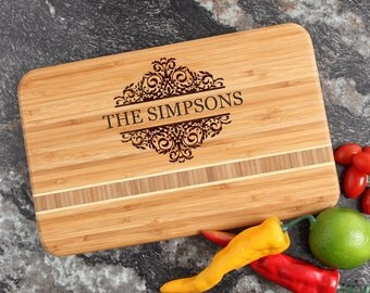 Personalized Cutting Board, Personalized Housewarming Gift, Engraved Bamboo Cutting Boards, Host or Hostess Gift, Bridal Shower-12 x 8 D39