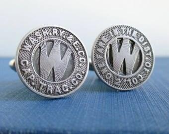 WASHINGTON DC Transit Token Cuff Links - Repurposed Vintage Silver Tone Coins