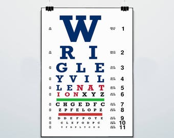 Chicago Eye Chart -Wrigleyville - Print - Poster - Wrigleyville Nation - Chicago Cubs