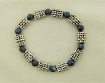 Lapis Lazuli Stretch Beaded Bracelet, Semi Precious Bracelet, Blue Bracelet, Ladies Accessories, Birthday Gift, Christmas Gift, Gift for Her
