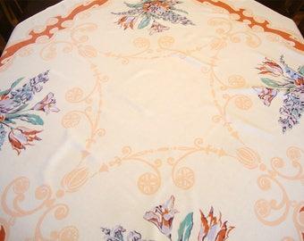 Vintage Flowers Art Nouveau Style Printed Tablecloth Gorgeous! 46 x 52