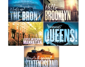 Set of 40 New York City postcards: eight each of The Bronx, Brooklyn, Manhattan, Staten Island and Yaaaas Queens! Made in NYC