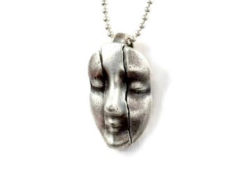Unusual Jewelry Gift For Women, Unique Sterling Face Jewelry, Mental Jewelry, Stressed Out Jewelry, Robin Wade, Articulated Jewelry, 2457