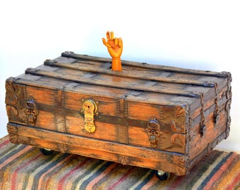 Rustic Wooden Antique Trunk Coffee Table On Casters: Low Slung Steamer  Travel Footlocker Chest