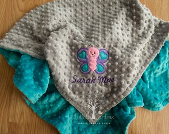 Personalized Minky Baby Blanket, Personalized Baby Gift, Butterfly Appliqued Minky Baby Blanket, Butterfly Baby Blanket