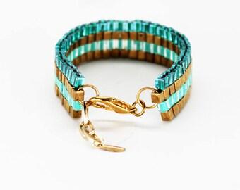 Beaded Bracelet in Teal Two Tone & Bronze