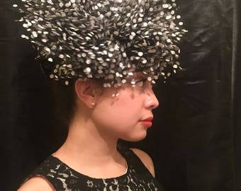Black Tulle and White Flocked Polka Dot Fascinator