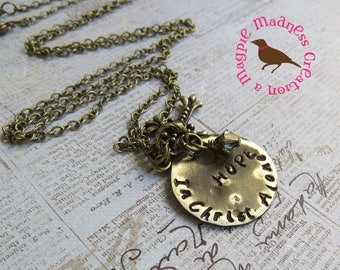 HOPE In Christ Alone Necklace, Long Boho Brass Cluster Pendant Necklace, Hand Stamped, Hymn, HOPE, by MagpieMadnessJewelry on Etsy