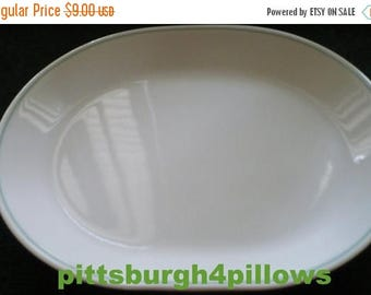 CHRISTMAS IN JULY Corelle - Serving/Meat Platter - Very Pale Mint Green Ring/Band - Euc - No Damage - Read Below