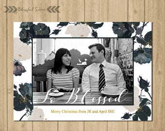 Black and White Christmas Card   Holiday Photo Card   Christmas Photo Card   So Blessed   Holiday Card   Gold  