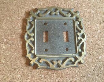 Vintage Double Switch Plate, Mid Century Light Switch Cover, Double Toggle, Brass Switch Plate Cover.