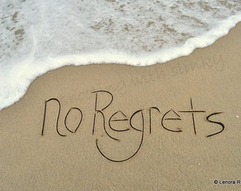 NO REGRETS, Wall Decor, Writing in the Sand, Instant Download