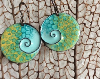 Copper Enamel Earrings with Cloisone Spiral/Seascape/Nature Art/Costa Rica Inspiration/Tropical/Dangle Earrings/Gift For Her/Organic