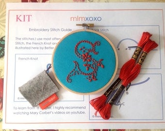 "Embroidery KIT by mlmxoxo.  modern hand embroidery kit.  monogram.  embroidery pattern.  DIY needlework kit.  alphabet letter.  4"" hoop art."