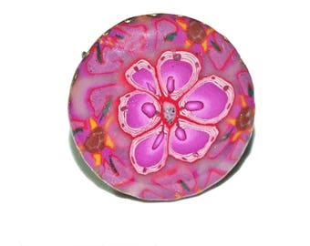 Lilac cabochon ring, purple, flowery, spring, fimo