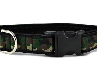 "Ready-to-Ship: Camo Jacquard - 1"" Buckle Collar - SMALL - Nickel-Plated Hardware"