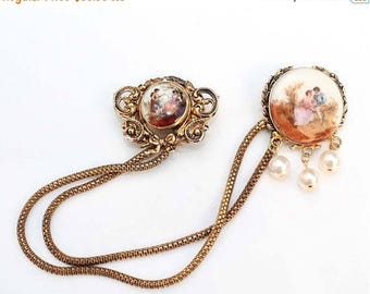 20% OFF SALE - CORO Victorian Courting Couple Cabochon and Faux Pearl Chatelaine