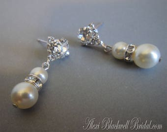 Pearl Earrings with a sparkling Rhinestone post available in many colors in Silver with Cream Ivory Blush or White Swarovski pearls