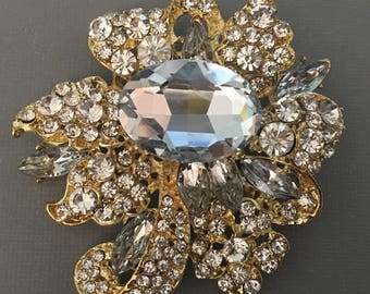 Huge Rhinestone Brooch elegant design in gold with clear crystal wedding bridal mother if the bride diy brooch bouquet broach