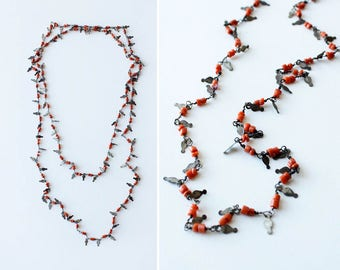 70s Long Necklace • Vintage Beaded Necklace • Coral Beaded Necklace • Vintage Coral Necklace • Boho Beaded Necklace • 70s Necklace | N314