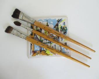 Vintage Artist Paint Brushes - Wood and Metal - Yarka Brushes - Podolsk Art - Russia - 3 in Lot - Studio Decor