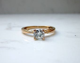Estate Tacori Solitaire .55 Total Carat Weight Diamond Engagement Ring in 18k Solid Yellow Gold, Size 6