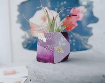 FLORAL ARTIST SERIES - Luna Purple Floral Air Plant/ Mini Succulent Planter    Indoor    Modern    Succulent Planter    Hand Painted Planter