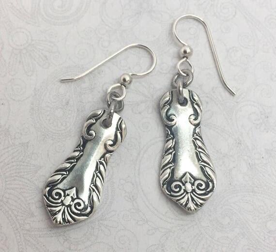 """Antique Demitasse Spoon Earrings, Silverware Jewelry """"Delsarte"""" 1893"""