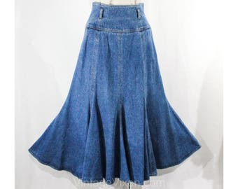 Size 8 Jean Skirt - Liz Claiborne Label 1980s Retro Denim Skirt - 2 Pockets & Belt Loops - Casual Blue Western - Autumn - Waist 26.5 - 50085